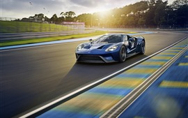 Ford blue sport car, speed, road