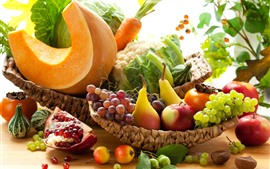 Preview wallpaper Fruit and vegetables, apples, grapes, pears