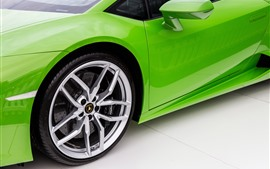 Preview wallpaper Green Lamborghini supercar, wheel