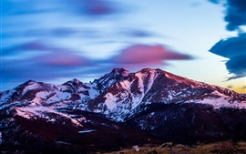 Preview wallpaper Mountains, snow, sunset, clouds, dusk