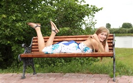 Preview wallpaper Smile blonde girl, bench, happy