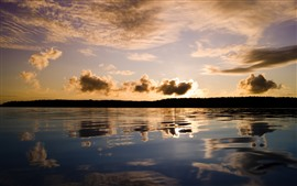Preview wallpaper Sunset, clouds, lake, water reflection