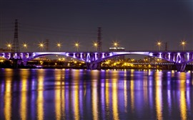 Preview wallpaper Taiwan, Taipei, bridge, river, lights, night