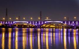 Taiwán, Taipei, puente, río, luces, noche