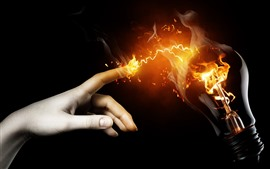 Preview wallpaper Touch, finger, lamp, fire, creative picture