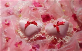 Two love hearts, silk, flowers