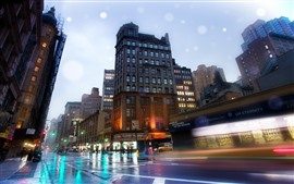 Preview wallpaper USA, city, street, road, wet, rain, buildings, lights