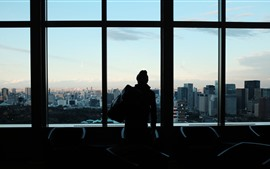 Preview wallpaper Window, man, silhouette, city