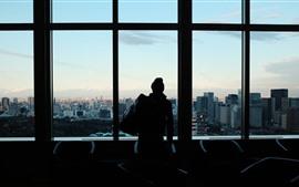 Vorschau des Hintergrundbilder Fenster, Mann, Silhouette, Stadt