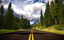 Preview wallpaper Banff National Park, trees, road, clouds, mountains