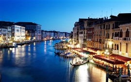 Preview wallpaper Beautiful Venice, night, city, river, lights, boats