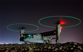 Preview wallpaper Bell-Boeing V-22 Osprey aircraft, night, light