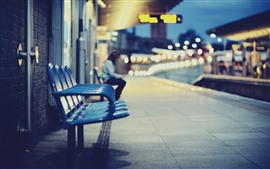 Preview wallpaper Bench, station, night, lights