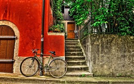 Bike, street, house, stairs