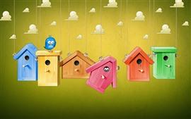 Birdhouse, bird, clouds, creative picture