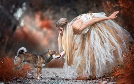 Blonde girl and dog, skirt