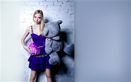 Preview wallpaper Blonde girl and teddy bear, gift