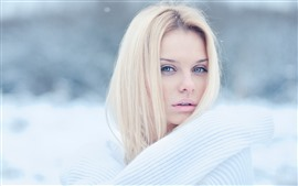 Preview wallpaper Blonde girl, white sweater, winter, snow