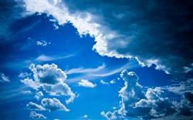 Preview wallpaper Blue sky, white clouds, nature scenery