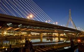 Boston, puente, luces, río, noche, ciudad, EE. UU.