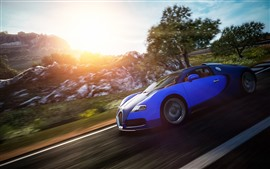 Bugatti синий суперкар, скорость, солнечный свет