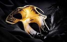壁紙のプレビュー カーニバル、黄金のマスク、羽