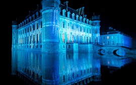 Castle, blue light, night, lake