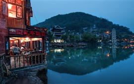 China, parque, lago, torre, restaurante, luces, noche