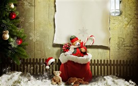 Preview wallpaper Christmas, teddy bear, gift, snow, fence, creative picture