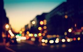 City, night, light circles, hazy