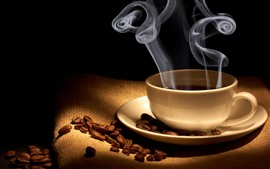 Preview wallpaper Coffee, cup, coffee beans, steam