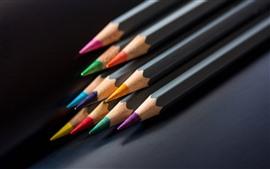 壁紙のプレビュー カラフルな鉛筆、黒の背景