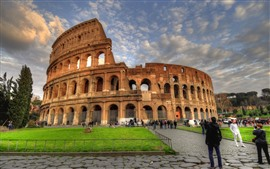 Preview wallpaper Colosseum, Rome, Italy, clouds, people