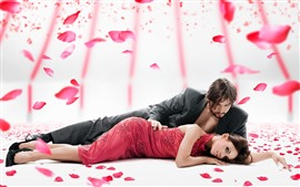 Preview wallpaper Couple, lovers, rose petals, romantic
