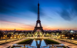 Preview wallpaper Eiffel Tower, lights, beautiful night, sunset, Paris