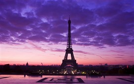 Preview wallpaper Eiffel Tower, purple sky, clouds, night, city, France