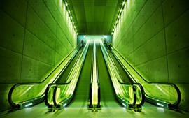 Preview wallpaper Escalator, lights, green style
