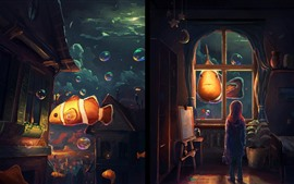 Preview wallpaper Fantasy, art painting, clownfish, girl, bubbles, house, town
