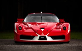 Preview wallpaper Ferrari red supercar front view, black background