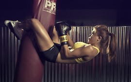 Preview wallpaper Fitness girl, sport, pose, boxing