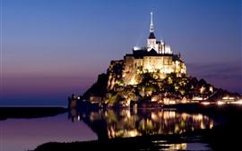Франция, ночь, огни, остров, вода отражение