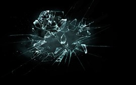 Glass broken, black background