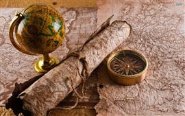 Globo, mapa, bússola