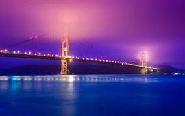 Puente Golden Gate, río, luces, noche, brumoso, EE.UU.