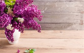Preview wallpaper Lilac, purple flowers, vase, table