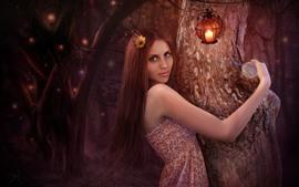 Menina de fantasia de cabelos longos, lâmpada, árvore, imagens de arte