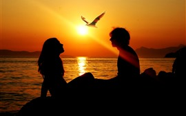 Lovers, couple, silhouette, bird, sunset, sea