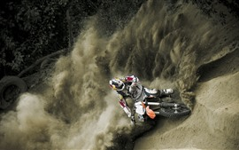 Preview wallpaper Motorcycle racing, dust, smoke