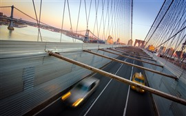 New York, bridge, cars, speed, USA