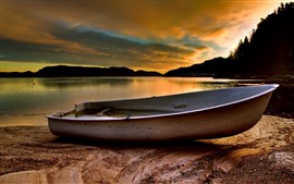 One boat, lake, sunset, clouds, trees